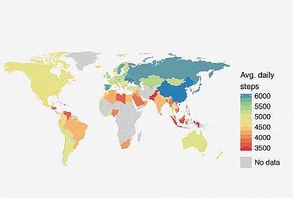 World map showing levels of physical activity