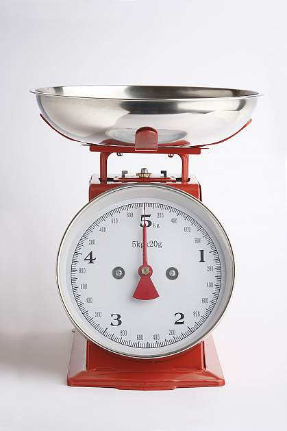 Red kitchen scale.