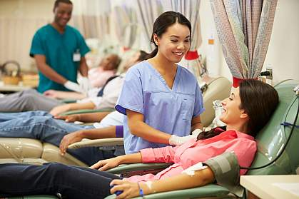 People donating blood