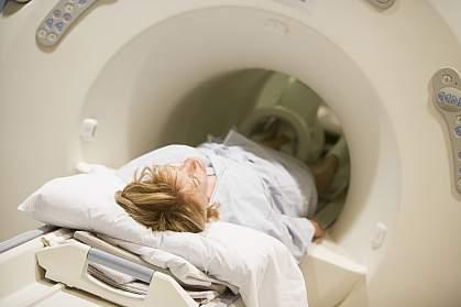 Patient undergoing CAT scan of the abdomen