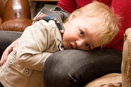 Young boy hiding between a parent's knees