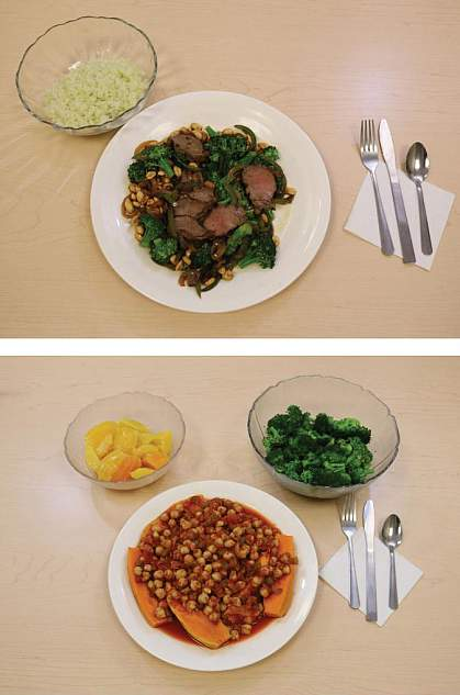 Beef stir-fry with cauliflower rice, top, and baked sweet potatoes and chickpeas with broccoli and oranges, bottom