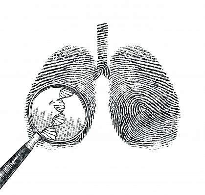 Illustration of lungs made up of DNA sequences, with a magnifying glass showing a broken DNA strand.