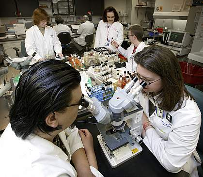 Johns Hopkins University students in a laboratory.