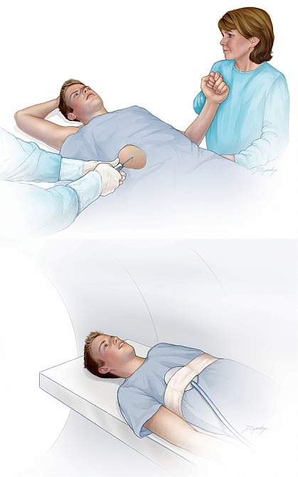 Illustrations of a patient undergoing a liver examination.