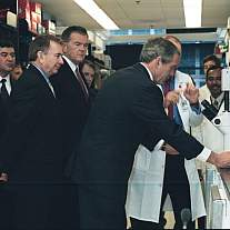 President George W. Bush tours the Vaccine Research Center