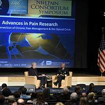 NIH Director Dr. Francis Collins chats with U.S. Surgeon General Dr. Jerome Adams about the opioid epidemic