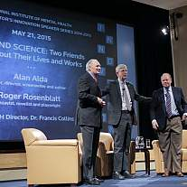 Intelligence is always celebrated in Masur Auditorium; wit, not so much. That changed with (from l) Alan Alda, NIH director Dr. Francis Collins and Roger Rosenblatt on May 21