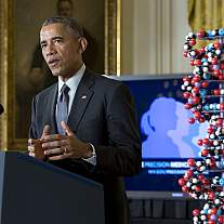 President Obama speaks during the Precision Medicine Initiative launch.