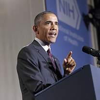 A photo of President Obama speaking at a podium