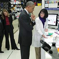 President Obama learns about the experimental Ebola vaccine.