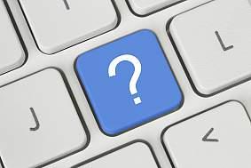 Question mark key on keyboard.