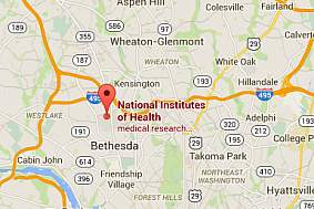 Google map showing the location of the NIH headquarters in Bethesda, MD.