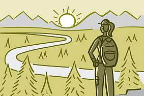 Illustration of a hiker watching a sunset from atop a mountain.