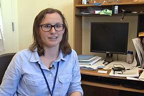 Katie Kaugars talking in a LabTV video.