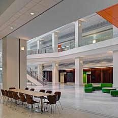 Seating areas in the atrium of the Porter building