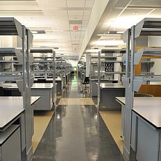 More lab benches in the Porter building ready to be filled