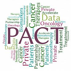 PACT word cloud including the words: Therapies, Oncology, Immunology, Biomarkers, Immune system, Cancer, Treatment, Private, Accelerate, Data, Patients, Partnership.