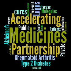 Tag cloud of terms related to the Accelerating Medicines Partnership