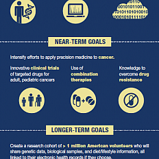 Infographic describing what the Precision Medicine Initiative is, why now, near-term goals, and longer-term goals. (Credit: NIH)
