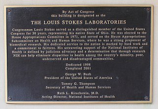 Building 50 on the NIH campus in Bethesda, Md., was dedicated in June 2001 as the Louis Stokes Laboratories.