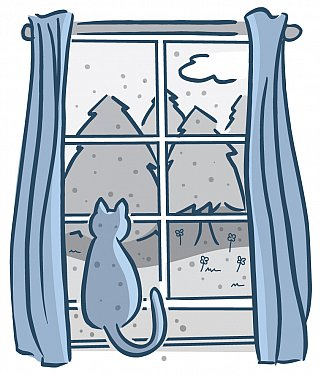 Illustration of cat sitting on a windowsill looking out at trees, flowers, and specks of pollen
