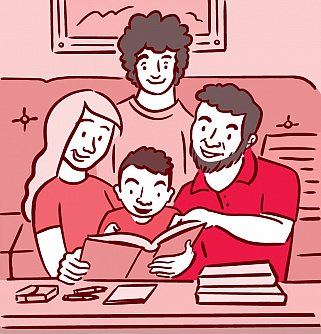 Illustration of family reading with child.