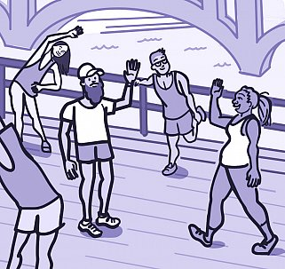 Illustration of a group of people exercising outdoors