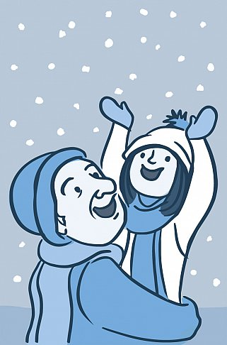Illustration of a happy older person and child bundled up in wintry outerwear on a snowy day