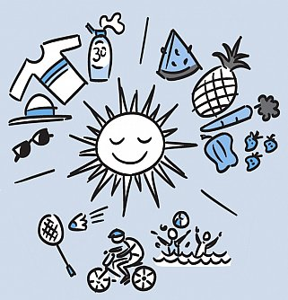 Illustration of sun surrounded by fresh produce, sun protection gear and people having fun outdoors