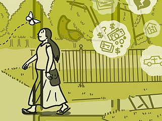 Illustration of a woman focusing on a butterfly as her worries float away