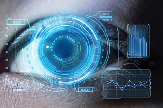 Human eye with using the graphical user interface technology - stock photo