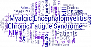 Word cloud including: Myalgic Encephalomyelitis/Chronic Fatigue Syndrome, Trans-NIH Working Group, Myalgic Encephalomyelitis, Chronic Fatigue Syndrome, ME/CFS, Trans-NIH, NIH, Working Group, Resources, For Patients, Research, Investigators, NIH Institutes and Centers. Built by NIH using tagul.com