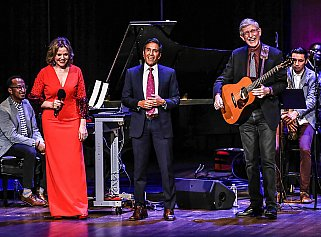 Soprano and Kennedy Center Artistic Advisor at Large Renée Fleming, CNN's chief medical correspondent Dr. Sanjay Gupta, and NIH Director Dr. Francis Collins at the second Sound Health Music and the Mind event on September 7, 2018.