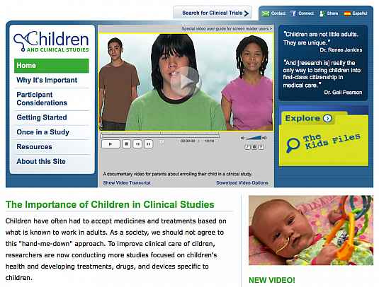 Screenshot of Children and Clinical Studies website