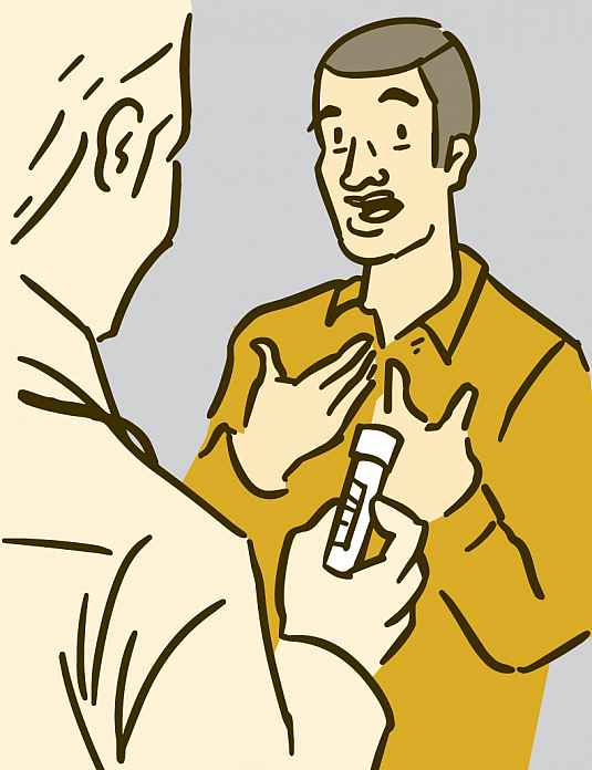 Illustration of a doctor holding a vial of blood while talking with a patient
