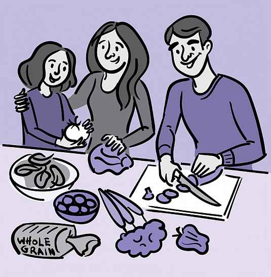Illustration of a family making a healthy salad