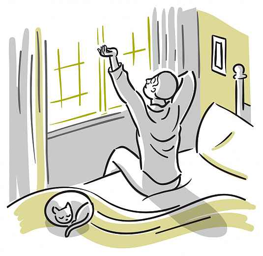 Illustration of a man arising from bed in the morning