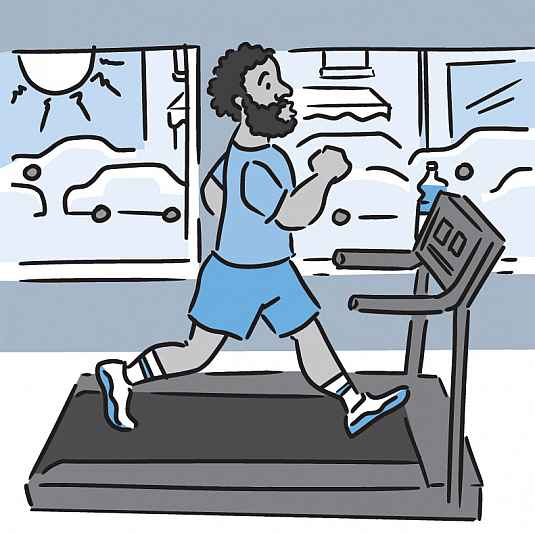 Illustration of a man running indoors on a treadmill, with traffic visible through window