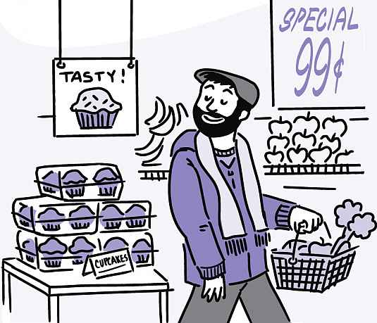 Illustration of a man bypassing cupcakes and carrying a shopping basket filled with produce