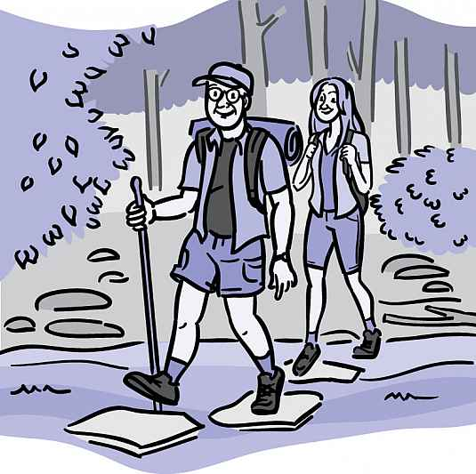 Illustration of an older couple hiking through the woods