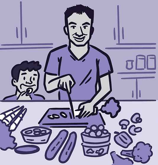 Illustration of a parent and child preparing a healthy meal together.