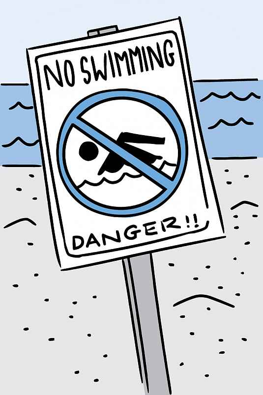 Illustration of a No Swimming sign at the beach