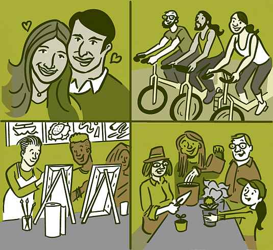 Collage of four illustrations of people making social connections