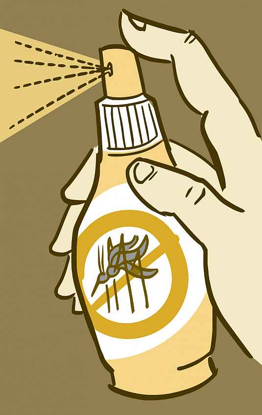 Illustration of a spray-bottle of mosquito repellent