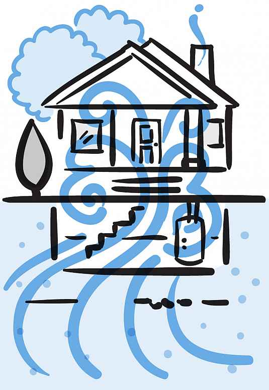 Illustration of swirling gas seeping from the ground into a basement and throughout a home