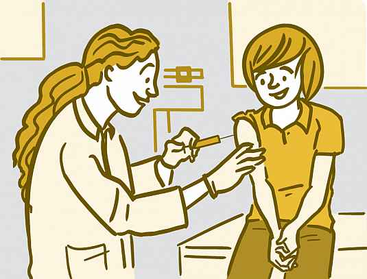Illustration of a woman getting a vaccination
