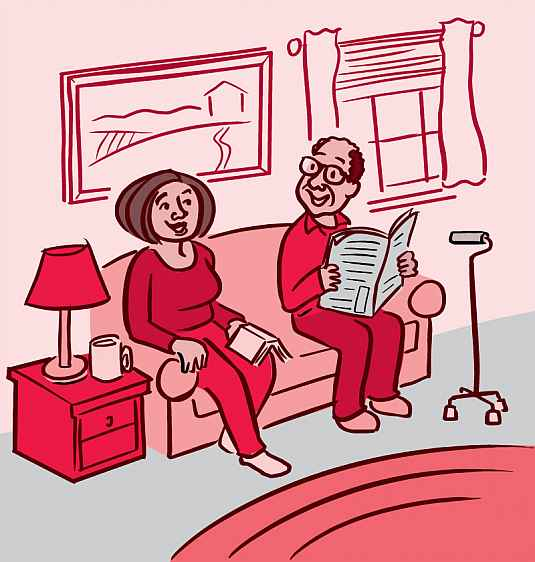Illustration of a man and woman talking on the sofa