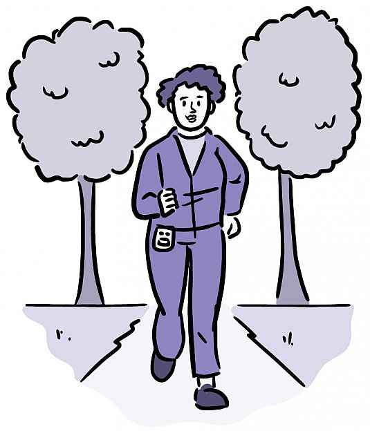 Illustration of a woman wearing a pedometer and walking along a trail