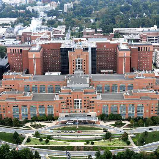 Aerial view of the Clinical Center (Building 10), NIH Campus, Bethesda, MD